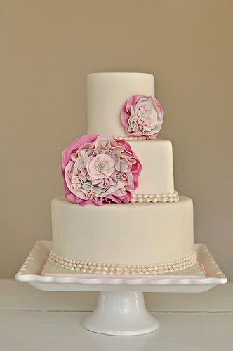 Rosette Wedding Cake With Pearls