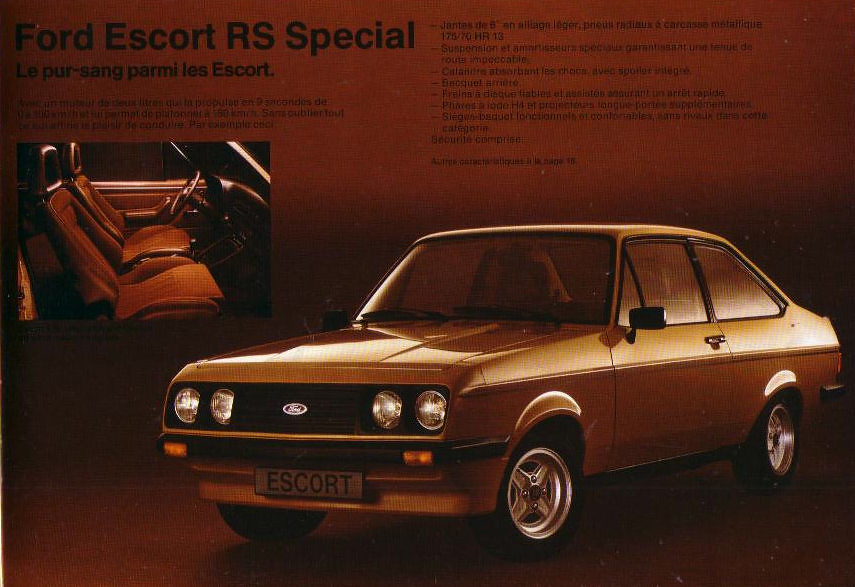 1980 Ford Escort Rs2000 Special Brochure Europe Covers