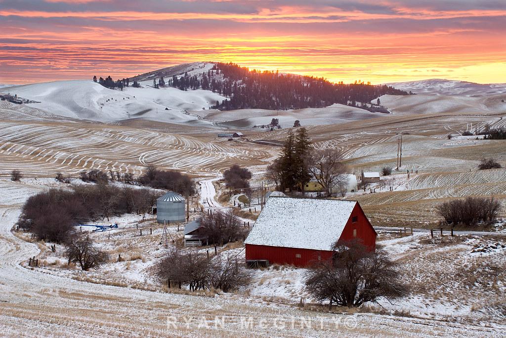 Palouse Winter Viola Farm Sunset   Viola, Idaho. Winter ...