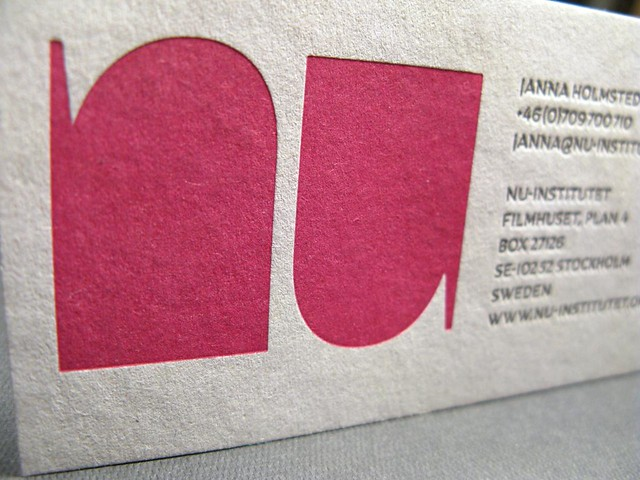 Business card on recycled paper