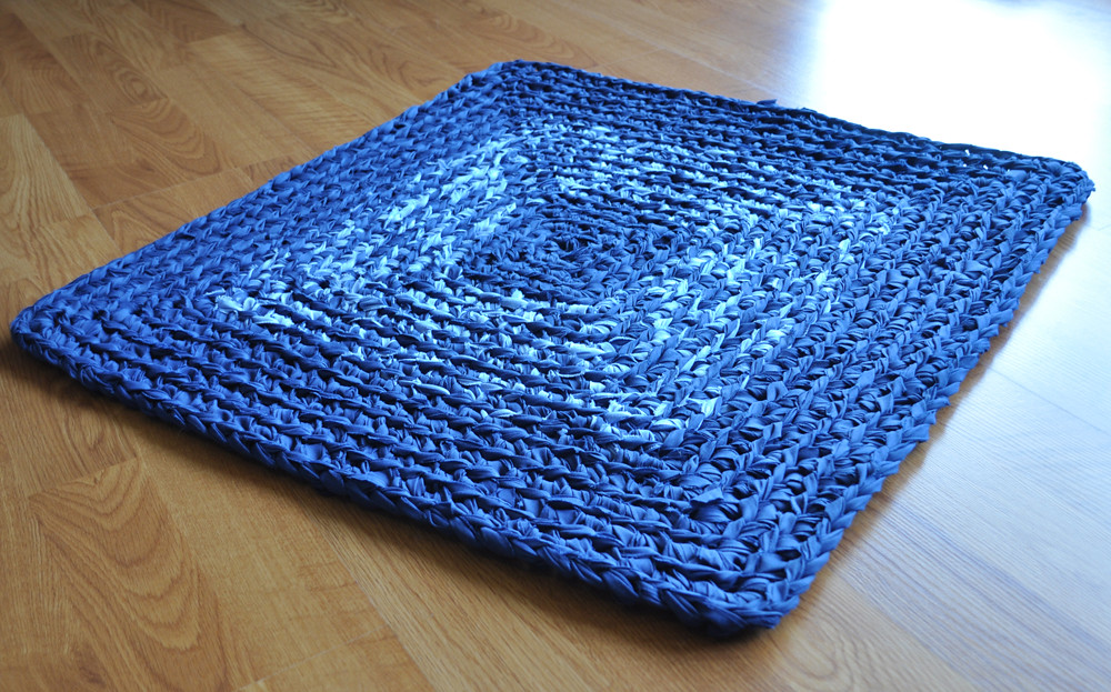 Navy And Tweed Crochet Square Rug I Crocheted This Rug