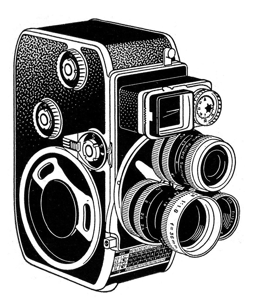 Line Drawing Camera : Bolex d l camera ad line art a detail from an