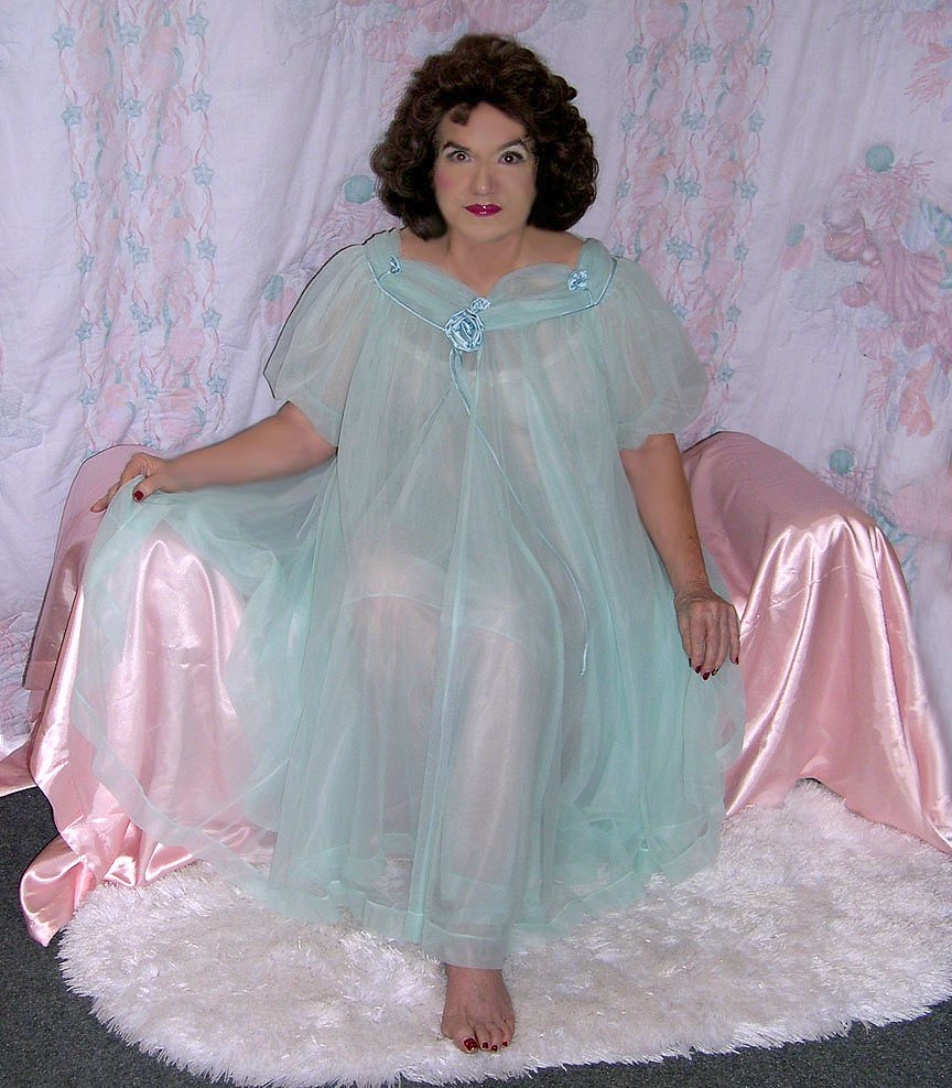 Me, Sea Green Vintage Sheer Night Gown  A Favorite Of -2159