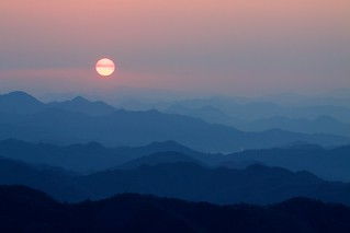 mountain sunrise in Motosu | by StephenCairns