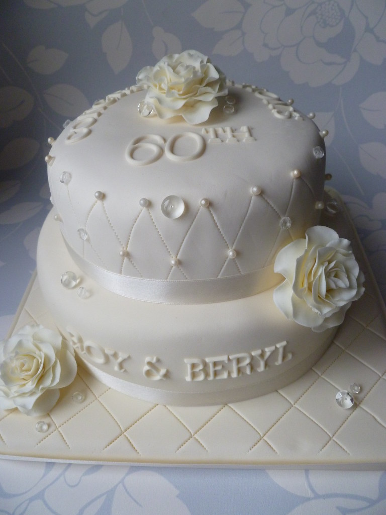 Diamond 60th Wedding Anniversary Cake Handmade Flowers