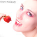 Stunning model in high key with a strawberry. The strawberry suffered some damage, but no models were hurt during this session.