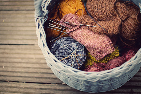 Knitting Basket Yarn : Knitting basket in spring filled with beautiful natural