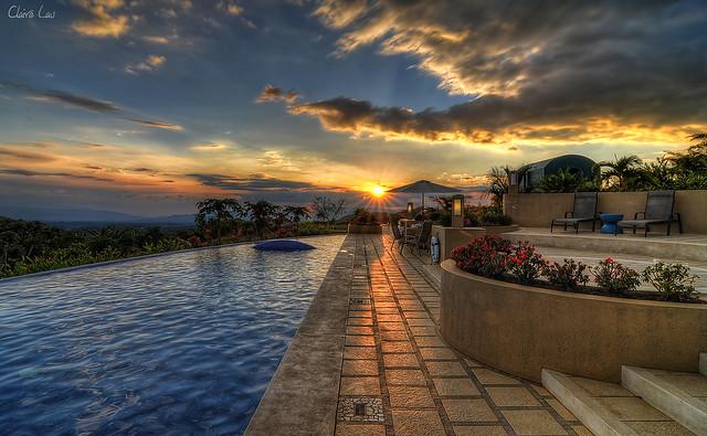 Xandari pool at sunset