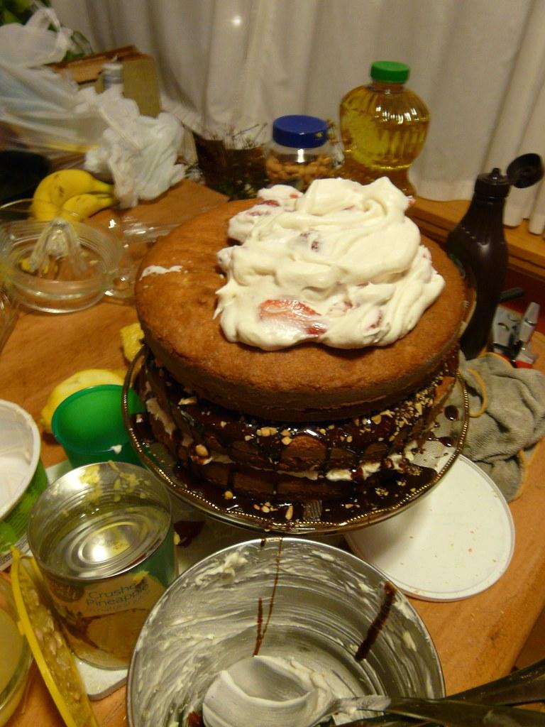 Banana Cake With Chocolate Ganache