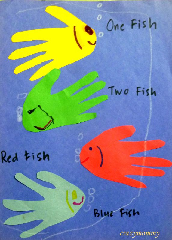 Dr seuss 39 one fish two fish red fish blue fish craft for Red fish blue fish