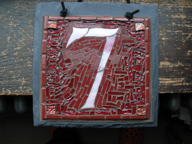 House number 7 in maroon mosaic by nutmeg designs 8x8 for House number designs