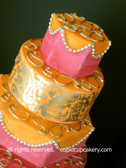 Pink Orange And Gold Sari Wedding Cake By Cupid Cupcakery