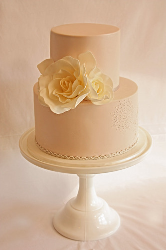 Petite rose and lace wedding cake | by Cake Ink. (Janelle)
