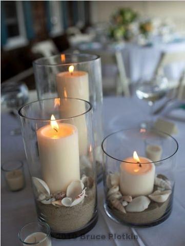 Beach Wedding Centerpiece Sand Shells Candles Flickr