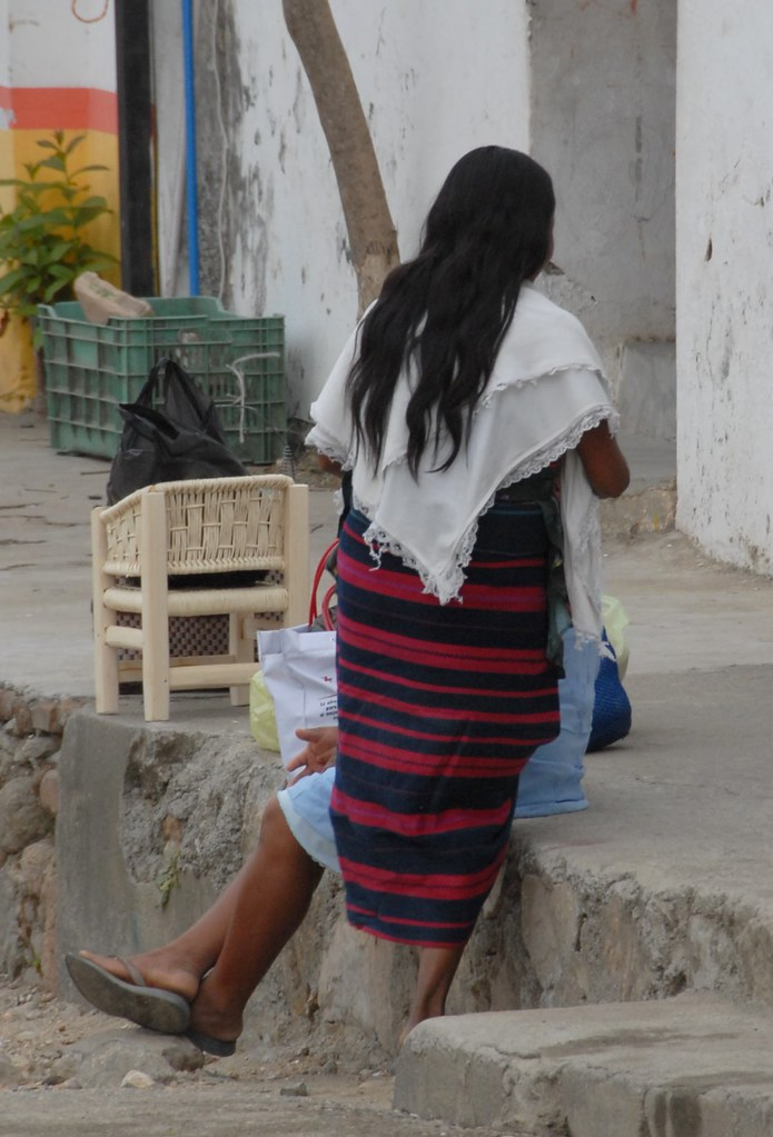 mixtec woman oaxaca mexico the woman wearing the red and
