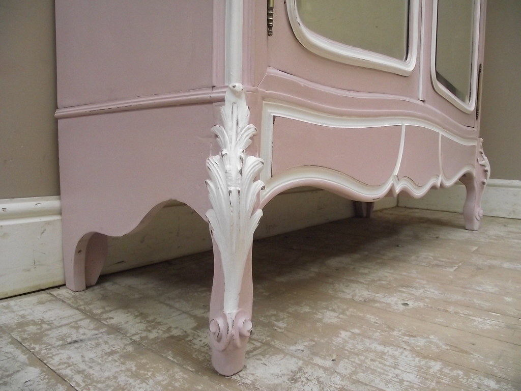 Superb French Antique Rococo Style Pink Painted Armoire Flickr