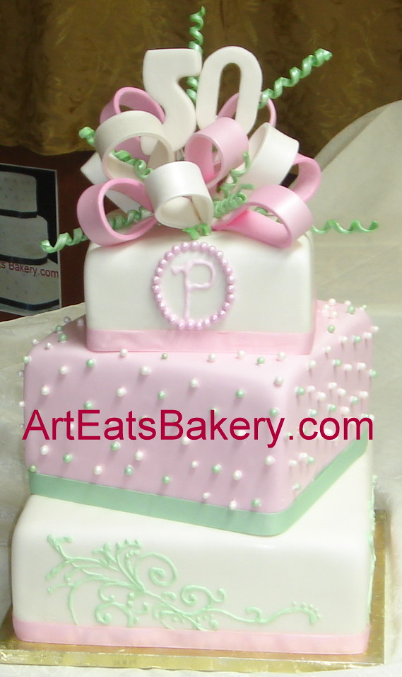 Three Tier Square Pink White And Green Fondant Custom 50t