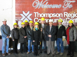 Steve Ashton with Assiniboine Credit Union, MPI, Gardwine, Ackman Builders, VALE, Manitoba Hydro and City of Thompson at Regional Community Centre | by steve.ashton