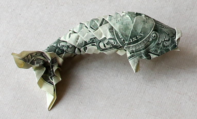 Dollar koi fish diagram by won park folded by me for Dollar bill origami fish