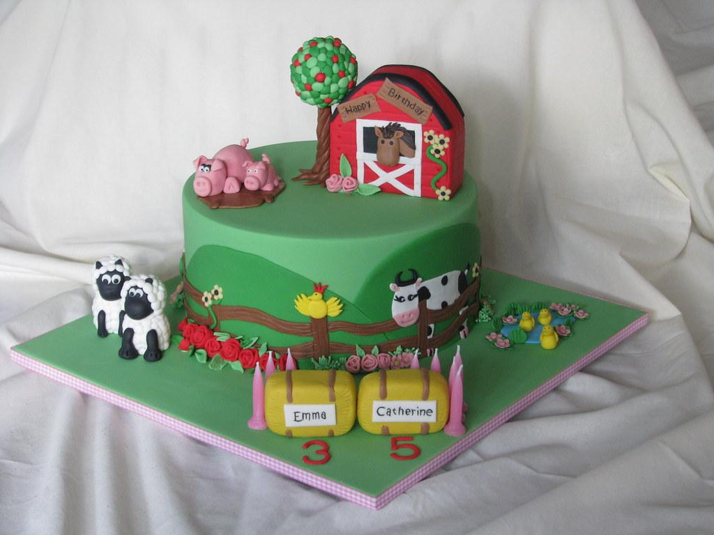 Cake Decoration Farm Theme : Farm Themed Cake Farm themed cake made for 2 sisters who ...