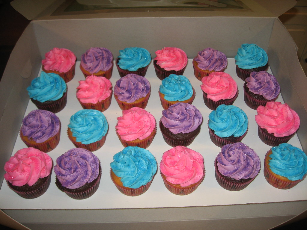 Blue Pink And Purple Cupcakes