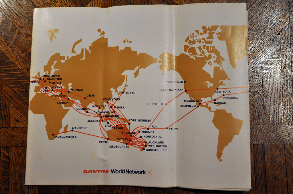 Qantas Route Map 1973 | Comparing to today's QF route
