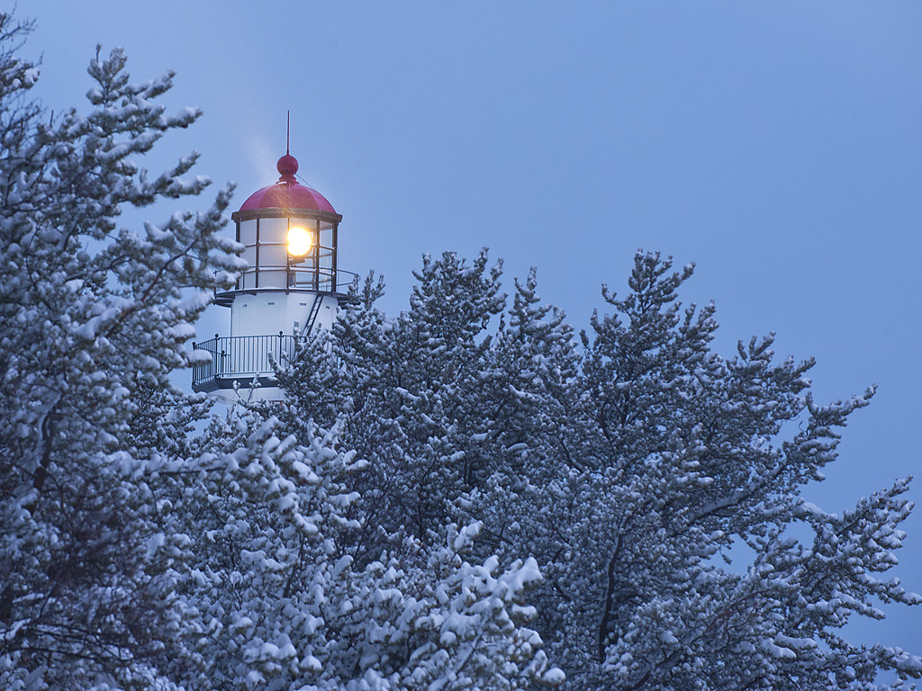 Whitefish point lighthouse in winter whitefish point for White fish point
