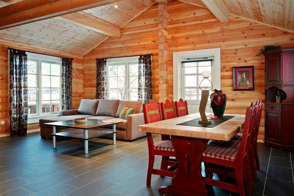 Interieur foto van een logwoning met ronde logs wonen in flickr - Interieur chalet berg foto ...