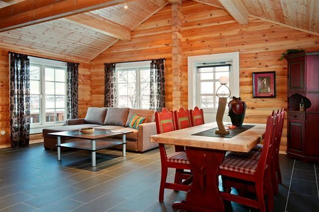 Interieur foto van een logwoning met ronde logs wonen in een houten huis een unieke beleving - Houten chalet interieur ...