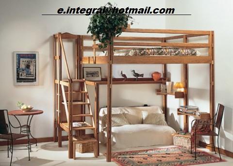 Cama alta con repisas escalera con baranda sencilla y con - Escalera cama infantil ...