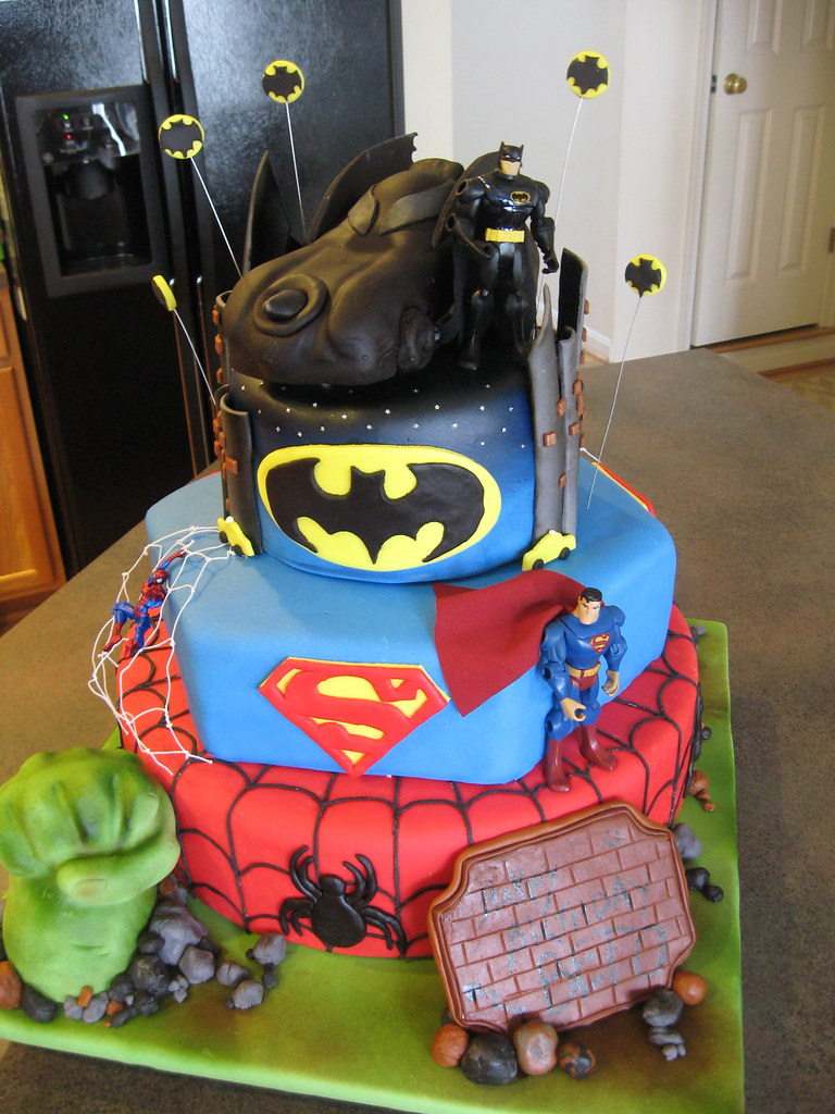 superheroes cake. The Hulk, Spiderman, Superman, Batman.  Flickr