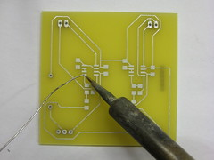 Soldering a pad