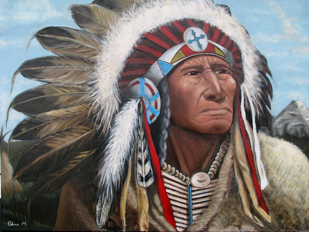 Il Gufo Su Indiani D America: Olio Su Legno 50x70 Venduto