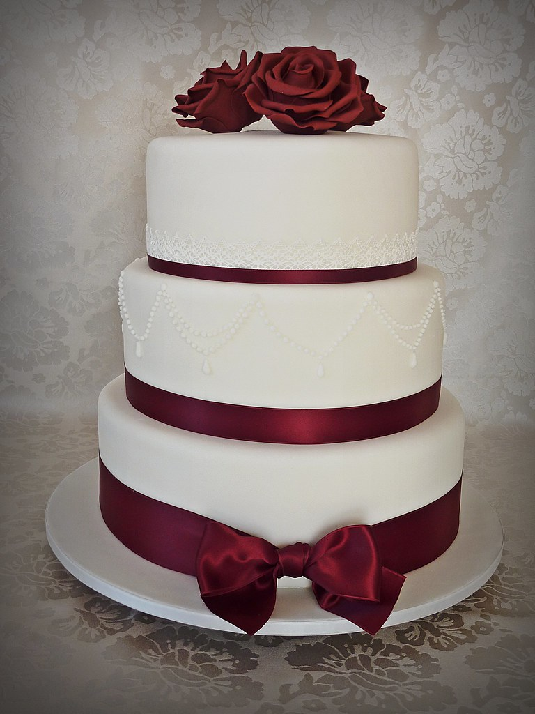 Burgundy Wedding Cake 8 10 And 12 Inch Tiers Wedding