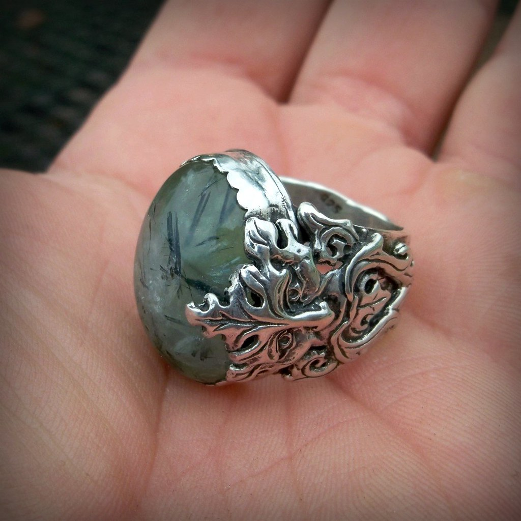 Wild Growth Green Man Ring With Prehnite Cabochon Set In S
