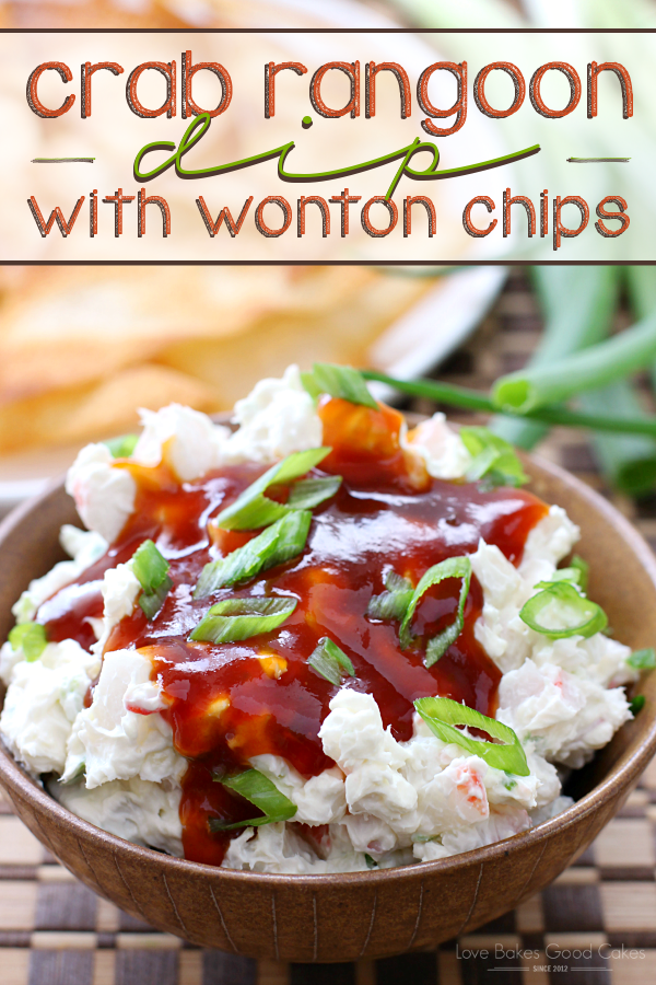 Crab Rangoon Dip with Wonton Chips in a brown bowl.