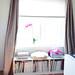 metallic curtains and window seat
