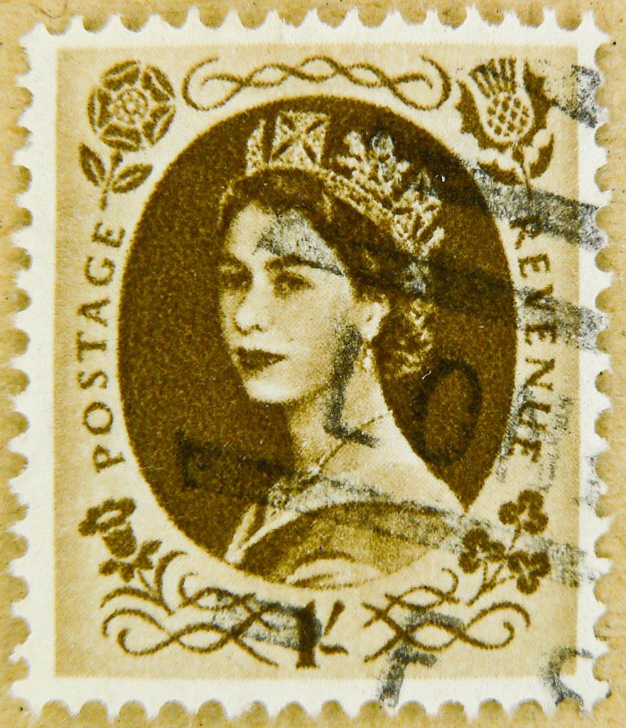 Stamp Predecimal Wilding 1 One Shilling Goldbrown Gold Bro