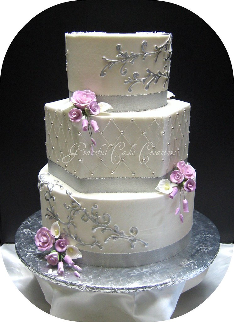 elegant white and silver wedding cakes silver and white wedding cake grace tari flickr 13999