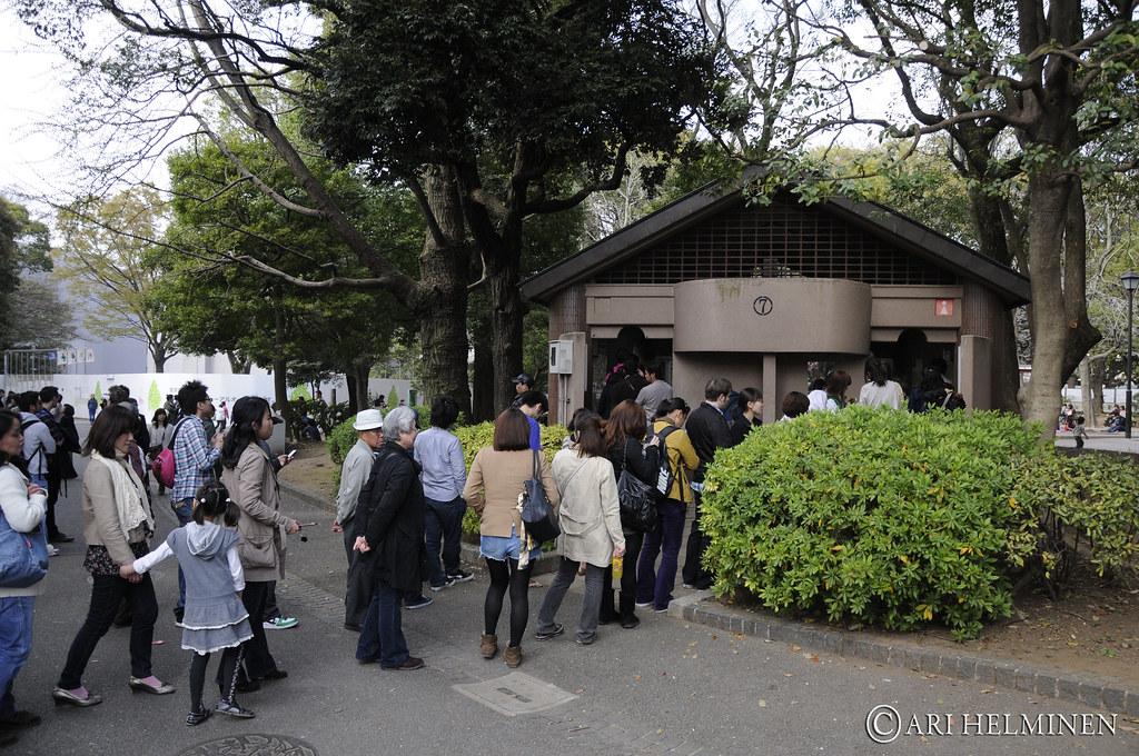 Bathroom Queue bathroom queue 花見 上野公園. hanami, ueno park. tokyo japan 東京