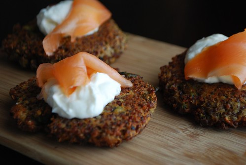 goat cheese, asparagus, and quinoa patties with lemon yogurt and smoked salmon | by Alejandra of Always Order Dessert