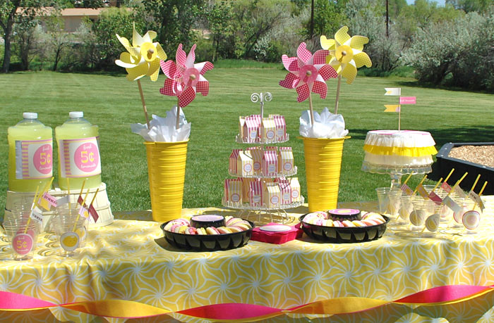Pink lemonade party styled and