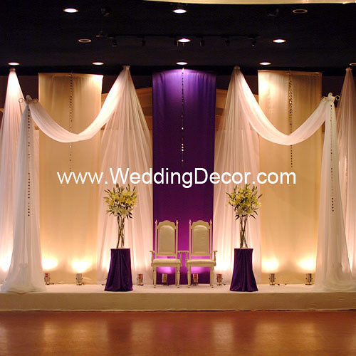 Wedding backdrop royal purple ivory a royal purple for Background decoration for wedding