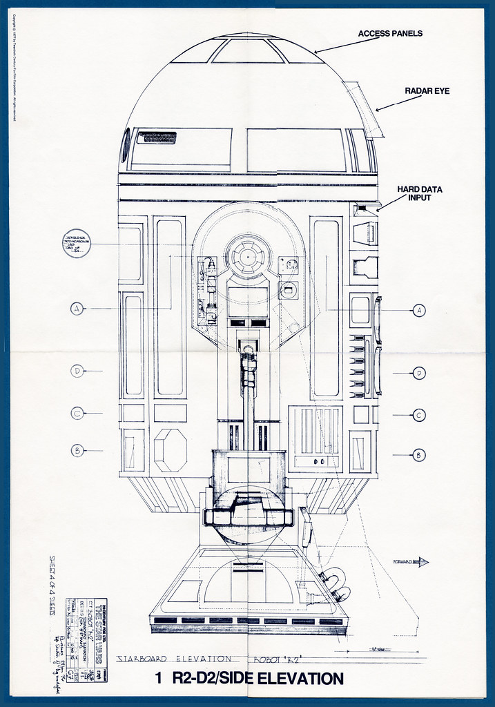 Star Wars Blueprints 01 R2 D2 Side Elevation Franmoff