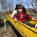 SAKURAKO goes down the slide.
