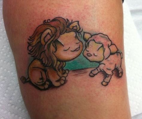 Lion The Lamb Tattoo Designs
