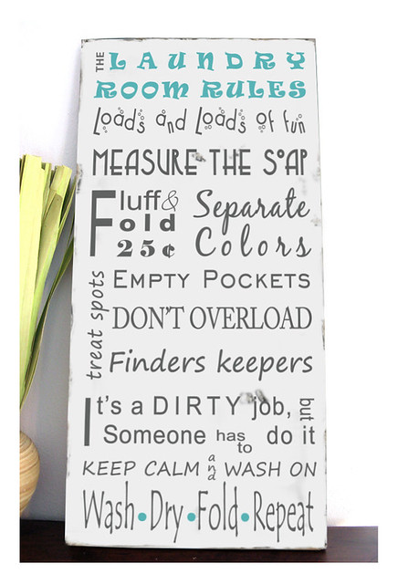 Laundry Room Rules Hand Painted Typography Sign The