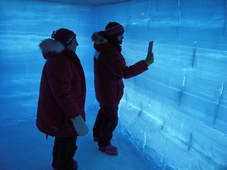 WAIS Divide Ice Core: Dr. Julie Palais (left), NSF-OPP Glaciology Program Manager, and Anais Orsi (right) inside a back-lit snow pit at WAIS Divide | by U.S. Ice Drilling