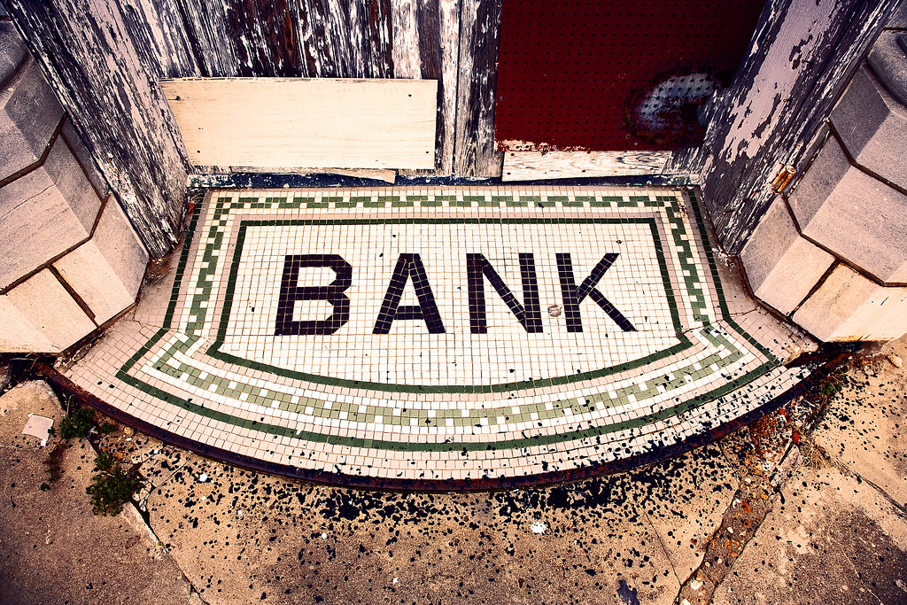 Tile Bank Sign Mat In Old Rural Town In Ok Oklahoma Flickr