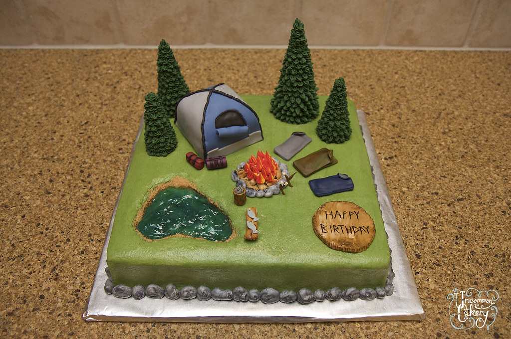 Groovy Camping Birthday Cake Buttercream With Fondant Accents A Flickr Personalised Birthday Cards Cominlily Jamesorg